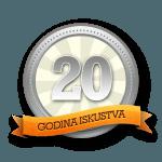 Sertifikat 20 godina iskustva stolarije Bližnjaković